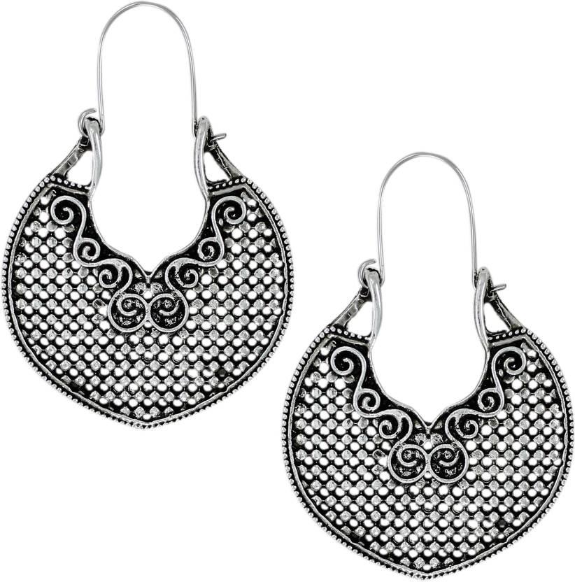 8039989d1d7a Flipkart.com - Buy Zaveri Pearls oxidised silver Zinc Hoop Earring Online  at Best Prices in India