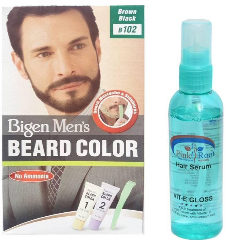 Bigen MEN\'s BEARD COLOUR 102 BROWN BLACK WITH PINK ROOT HAIR SERUM Hair  Color