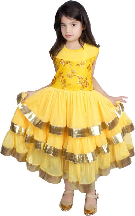 Tiny Toon Girls Maxi/Full Length Party Dress  (Yellow, Sleeveless)