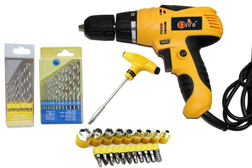 Digital Craft Ful Electric Driver Drill Machines With Bits Sockets Pistol Grip 10 Mm Chuck Size