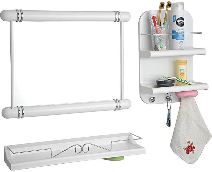 Uw 3 Pc White Color Bathroom Organizer Plastic Wall Shelf