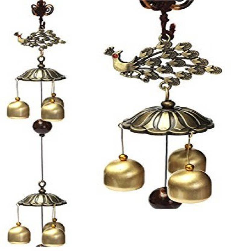 Lilone Gifts Home Decor Feng Shui Pea Bird Windchime Hanging For Love Cure Wind Chimes 6 Bells Large Steel 10 Inch Multicolor