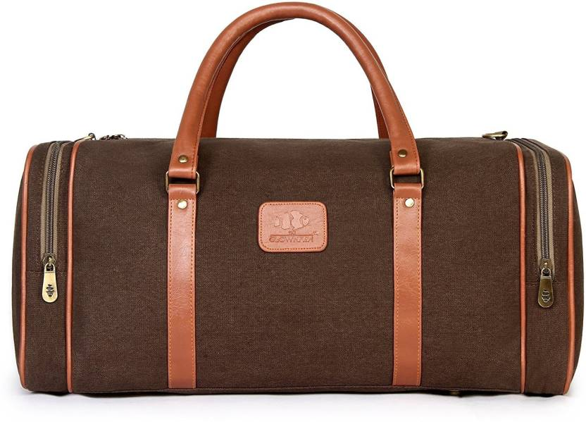 The Clownfish Cotton Canvas Duffle Travel Duffel Bag Brown - Price ... 564e3d5a18a83