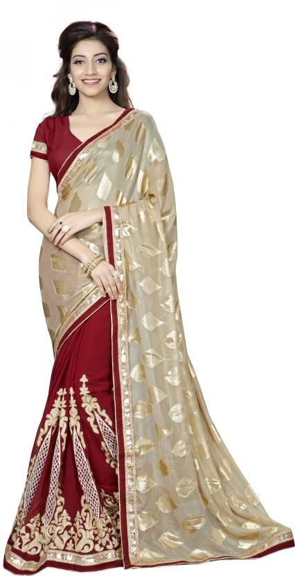 Aashvi Creation Embroidered Bollywood Georgette, Brasso Saree