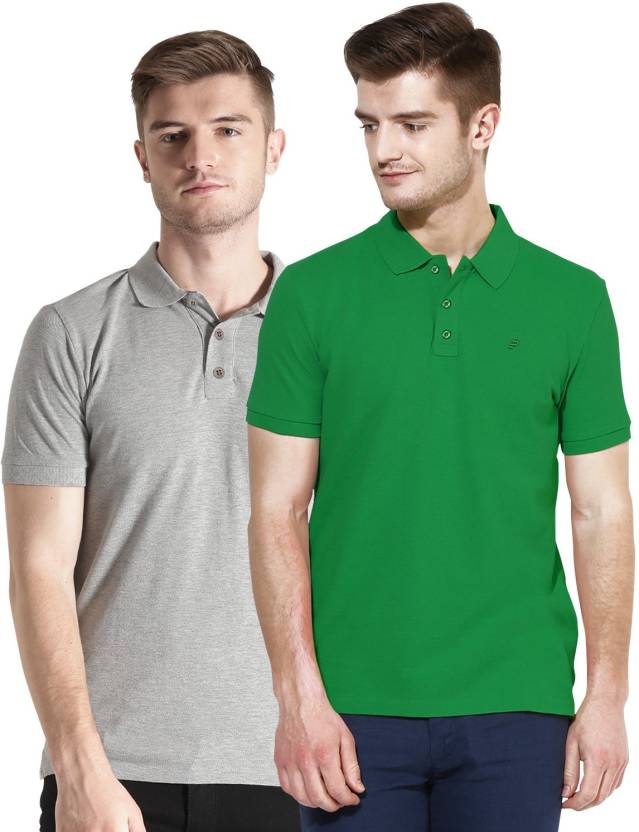 839c2b8ad Polo Nation Solid Men's Polo Neck Grey, Light Green T-Shirt (Pack of 2)