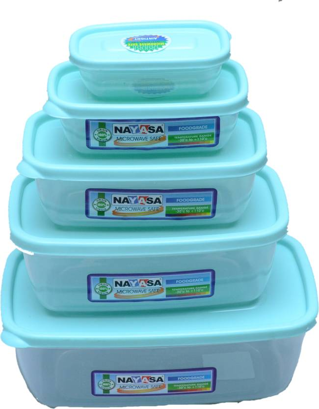 Nayasa Microwave Safe Container Size 0 4 1800 Ml 1100 680 300 150 Plastic Grocery Pack Of 5 Green