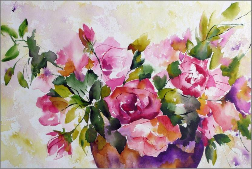 Awesome Flower Painting ON FINE ART PAPER HD QUALITY WALLPAPER POSTER Fine Art Print
