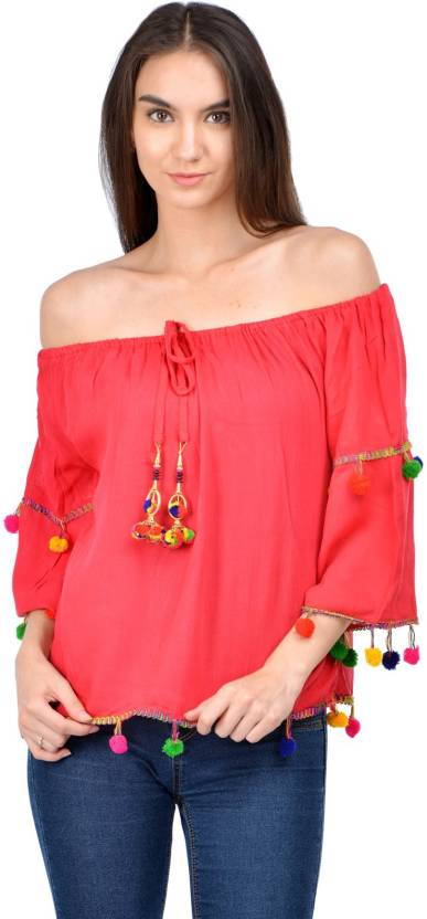 Raabta Fashion Casual 3/4th Sleeve Solid Women's Red Top
