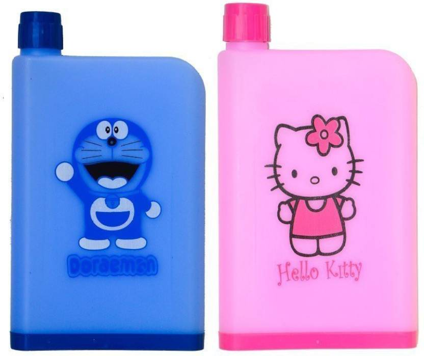 5f8bb5d91 Royle Katoch Combo NoteBook Water Bottle With a Cartoon Character Design  Like hello kitty & Doremon ML 380 ml Water BottlesSet of 2, Blue, Pink