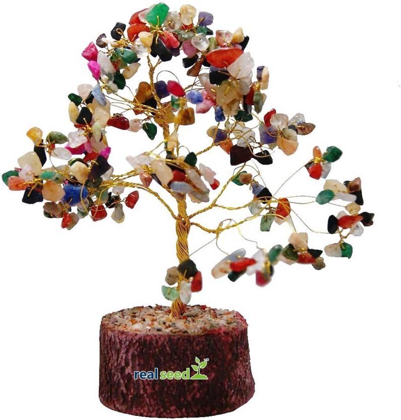 Real Seed Feng Shui Natural Crystal Quartz Gem Tree For Wealth, Fortune,  Love and Relationships (150 Gems) Decorative Showpiece - 20 cm