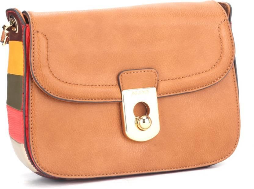 cf45f7d8452 Buy ALDO Sling Bag Tan Orange Lizard Multi color Sides W Lt Gold Hw ...
