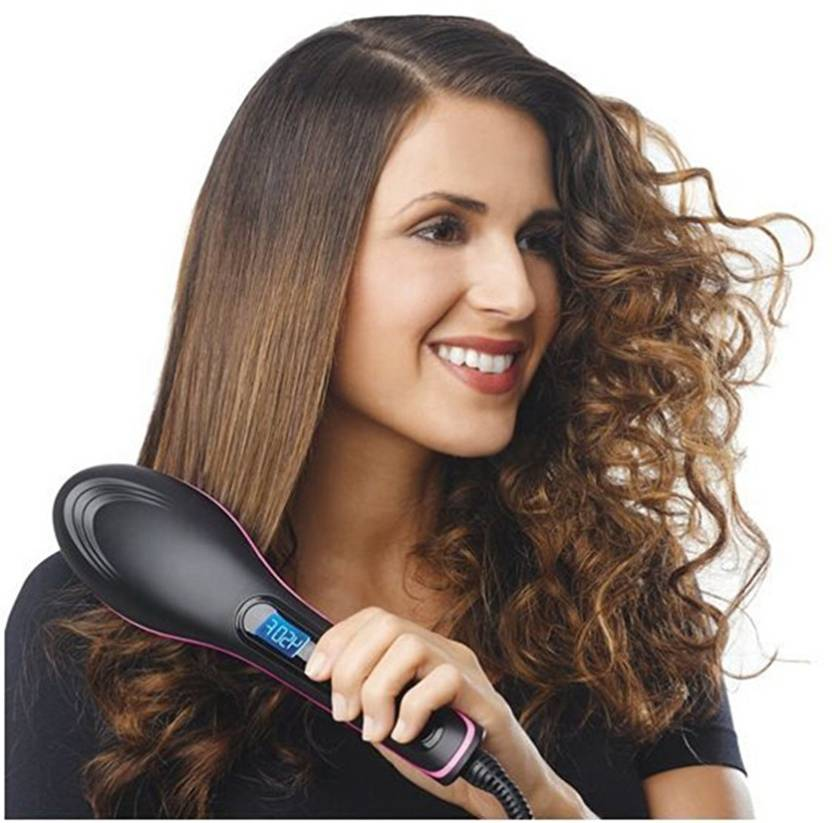 441002cdb4af50 VibeX ™ Cramic Straightening Irons.Electric Digital Fast Brush Comb LCD  Display Simply Straight™ -Type-602 Hair Straightener (Black)