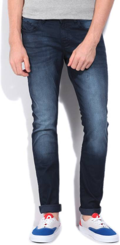 Wrangler Skinny Mens Dark Blue Jeans
