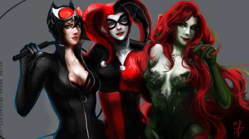d4af36e7d432 Comics Gotham City Sirens Catwoman Harley Quinn Poison Ivy HD Wallpaper  Background Paper Print (12 inch X 18 inch