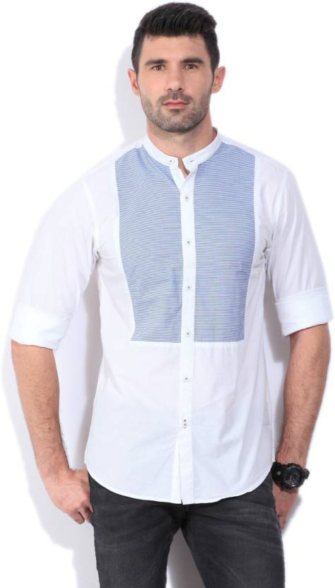7ee442d5ff Wills Lifestyle Men's Striped Casual White, Blue Shirt - Buy Bright ...