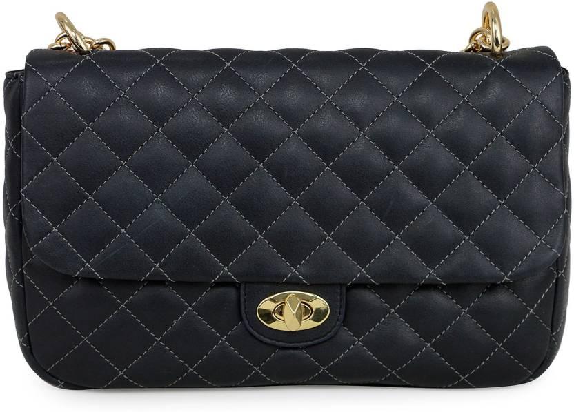 caadf700233 Da Milano Women Casual Black Genuine Leather Sling Bag BLACK - Price in  India
