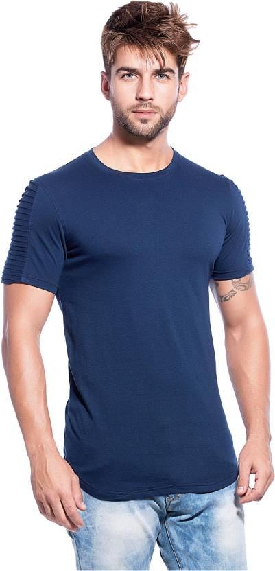 3be25bd5547 Maniac Solid Men's Round Neck Dark Blue T-Shirt