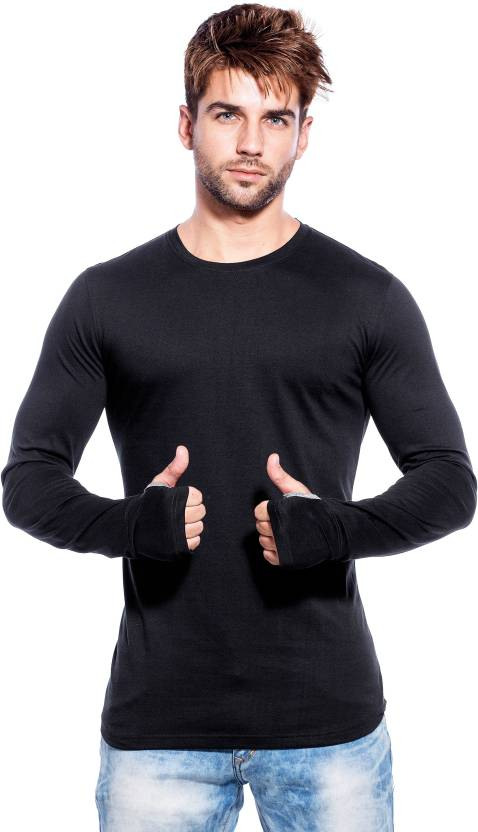 Maniac Solid Men 39 S Round Neck Black T Shirt Buy Maniac