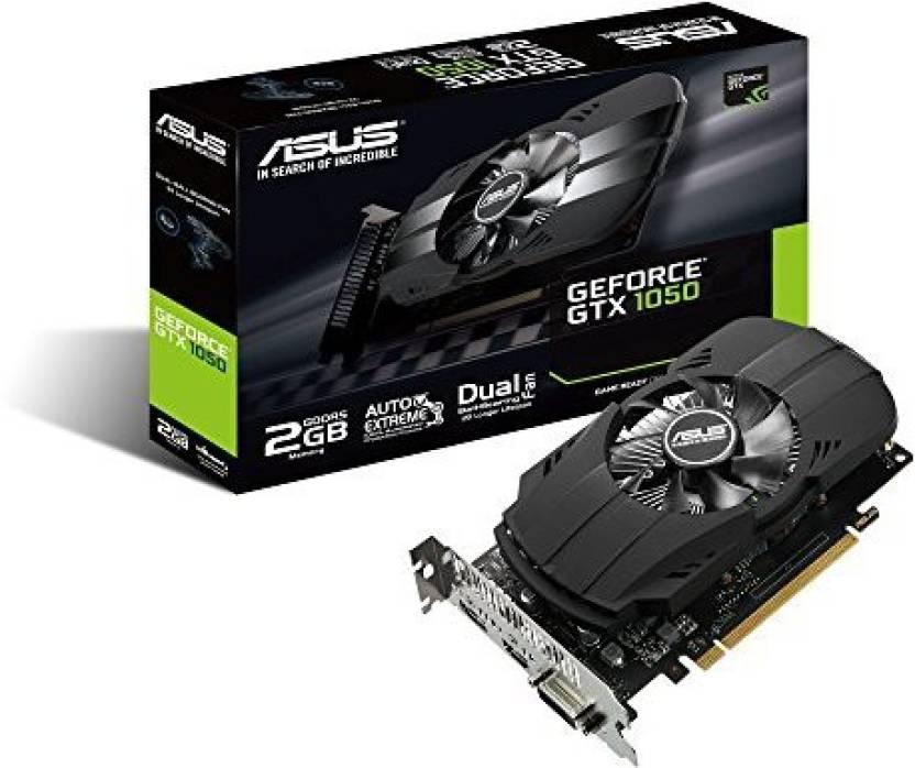 Asus NVIDIA ASUS Geforce GTX 1050 2GB Phoenix Fan Edition DVI-D HDMI DP 1.4 Gaming Graphics Card (PH-GTX1050-2G) Graphic Cards 2 GB GDDR5 Graphics Card
