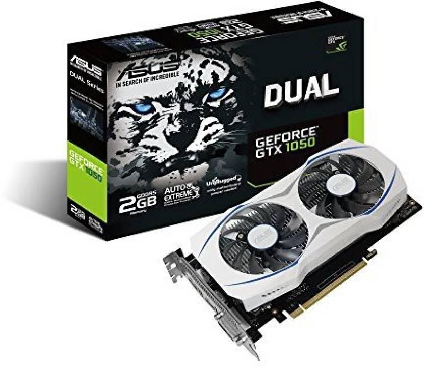 Asus NVIDIA ASUS Geforce GTX 1050 O2GB Dual-Fan Edition DVI-D HDMI DP 1.4 Gaming Graphics Card (DUAL-GTX1050-O2G) Graphic Cards 2 GB GDDR5 Graphics Card