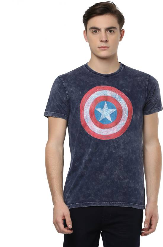 48bb461c Captain America By Free Authority Printed Men Round or Crew Multicolor T- Shirt