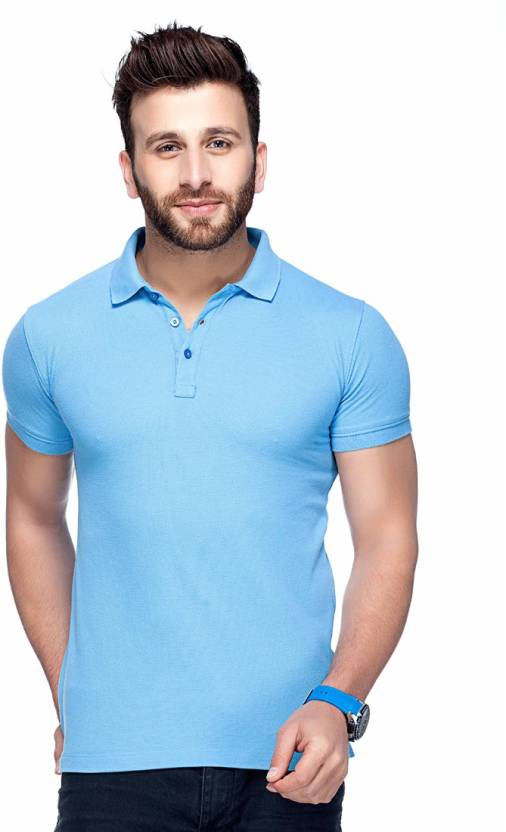 bbad4869b Tinted Solid Men's Polo Neck Light Blue T-Shirt - Buy Sky Tinted Solid Men's  Polo Neck Light Blue T-Shirt Online at Best Prices in India | Flipkart.com