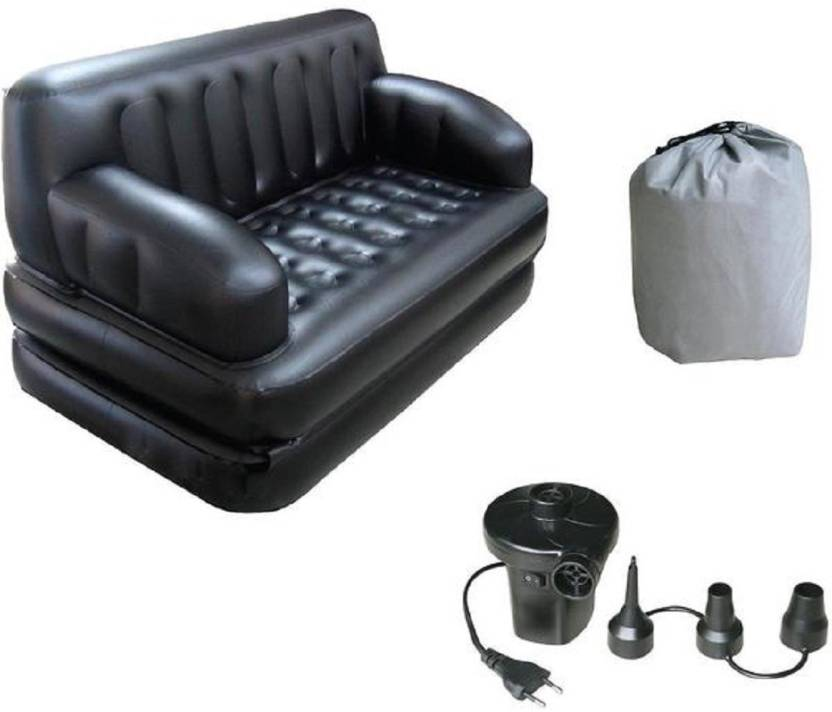 ININDIA PU Leatherette 3 Seater Inflatable Sofa Color   Bestway Black