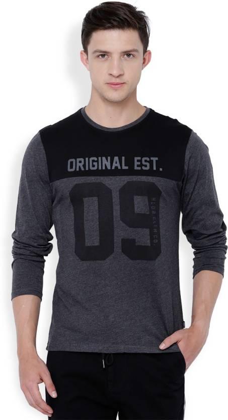 Highlander Printed Mens Round Neck Black, Grey T-Shirt