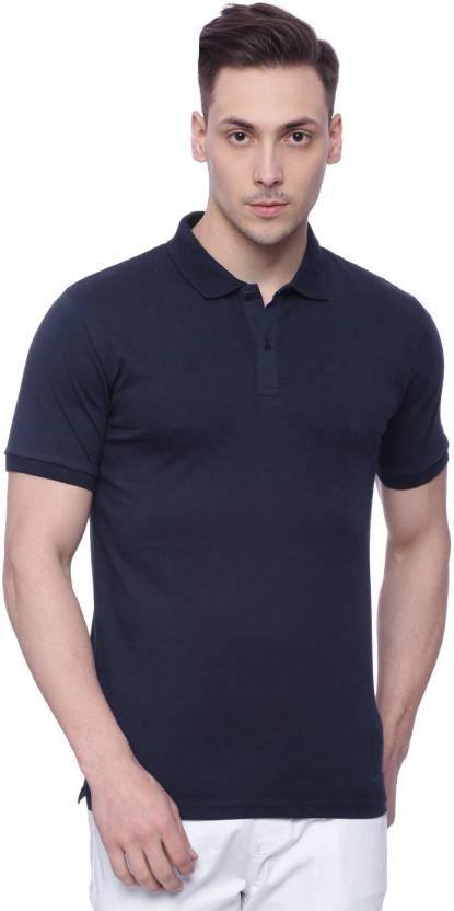 HIGHLANDER Solid Men's Polo Neck Dark Blue T-Shirt