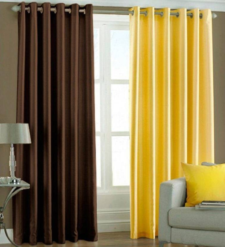 IDOLESHOP 213.5 Cm (7 Ft) Polyester Door Curtain (Pack Of 2) (Plain,  Multicolor)