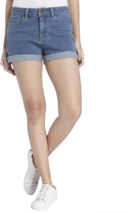 5c0d83d1a5 Vero Moda Solid Women's Blue Denim Shorts - Buy Vero Moda Solid ...