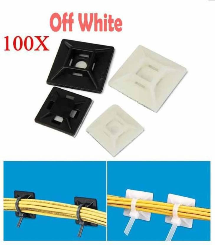 DIY Crafts Self Adhesive Nylon Cable Wire Zip Ties Mount Base 200pcs Price In India