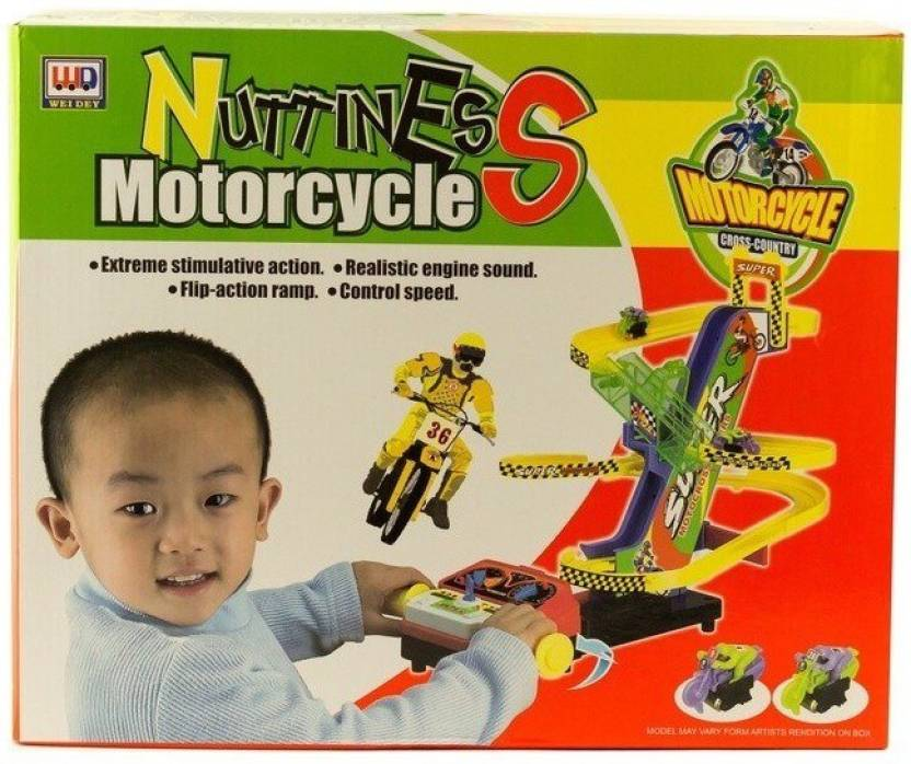 HALO NATION Motorcycle Stunt Bike Race Track Set For Kids