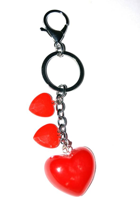 Tech Fashion Stunning Two Small Red Hearts One Big Red Heart Keyring