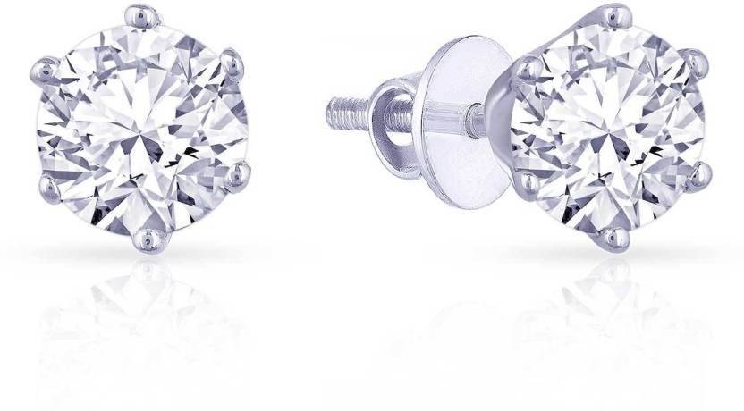 Malabar Gold And Diamonds White 950 Platinum Diamond Stud Earring