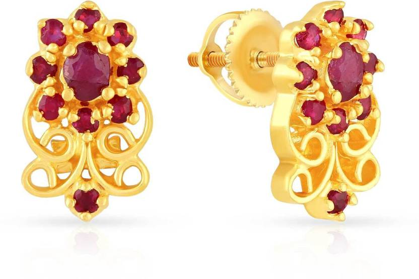 8362d7559 Malabar Gold and Diamonds Yellow Gold 22kt Ruby Stud Earring Price in India  - Buy Malabar Gold and Diamonds Yellow Gold 22kt Ruby Stud Earring online  at ...