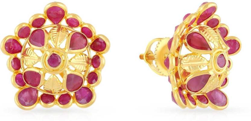 Malabar Gold And Diamonds Yellow 22kt Ruby Stud Earring