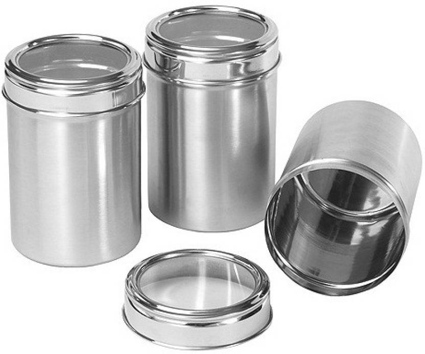 c8a755fdcf4 Dynore Set of 3 See through canister Capacity 1.25 L each - 1.25 L Steel  Grocery Container (Pack of 3