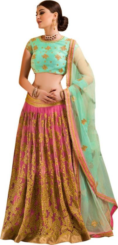 Thankar Net Embroidered Semi-stitched Lehenga Choli Material