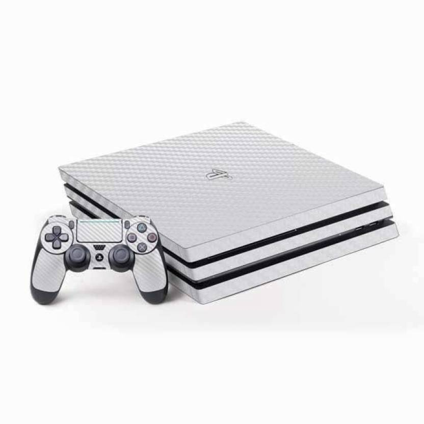 TCOS Tech Carbon Fiber Skin Sticker Cover For PS4 Pro Gaming Accessory Kit (White, For PS4)