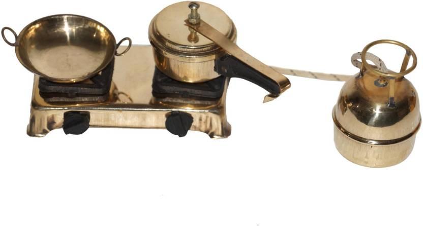 Pindia Brass Decorative Miniature Kitchen Set Gas Stove Cylinder Pan