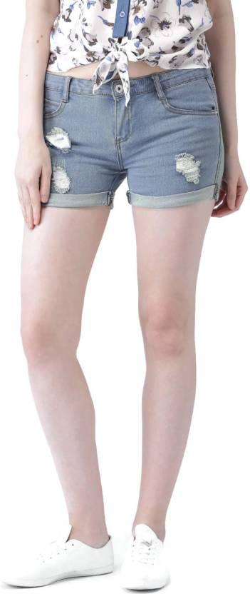 1ed0b8f9b Mast & Harbour Solid Women's Blue Denim Shorts - Buy Mast & Harbour ...