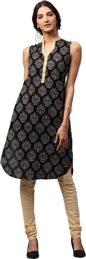 Libas Printed Womens Pathani Kurta  (Black, Beige)