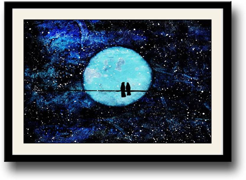 Artifa Starry Moonlit Night With Love Birds Framed Wall Painting