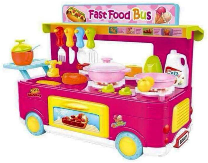 Amayra Toy Battery Operated Fast Food Bus With Complete Kitchen Set