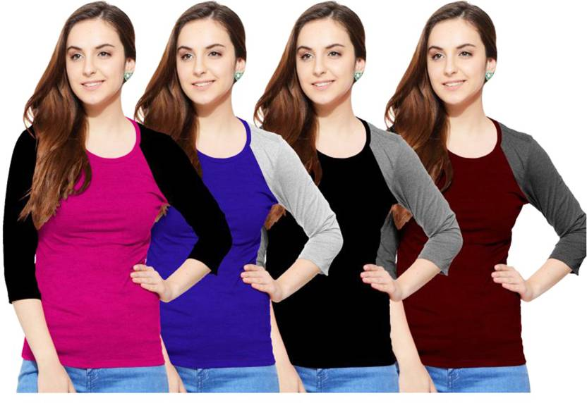 So Sweety Striped Womens Round Neck Multicolor T-Shirt  (Pack of 4)