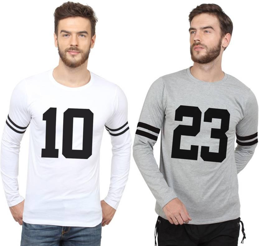 40e905def240 SayItLoud Printed Men's Round Neck White, Grey, Black T-Shirt (Pack of 2)