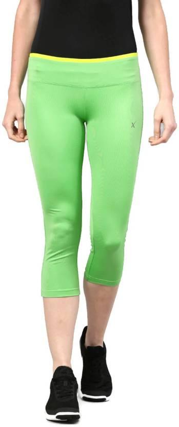 8d6ebc26f HRX by Hrithik Roshan Solid Women s Green Tights - Buy HRX by ...