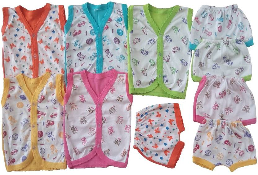 9313b16e12ef Sonpra New Born Baby Cotton Cartoon Printed Baba Suits Jabla Bloomers Dress  Combo Set(0