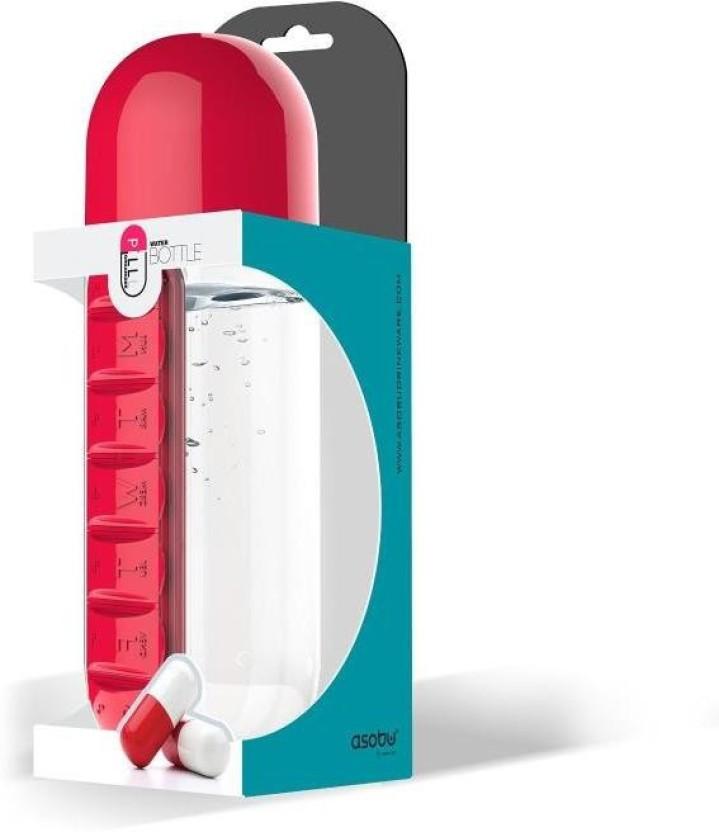 600ML BPA Free Sport Water Bottle Daily Pill Box Drinking Bottles Leak-Proof